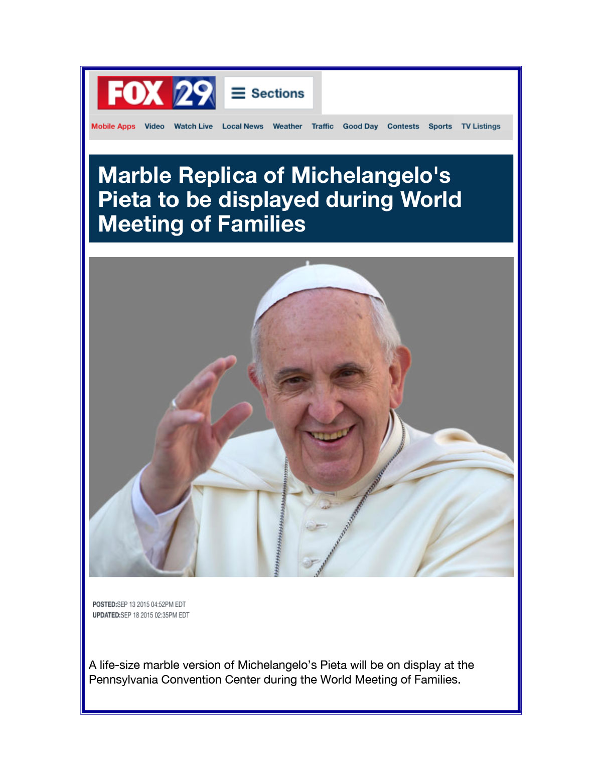 Fox News World Meeting of Families Sep 13 2015