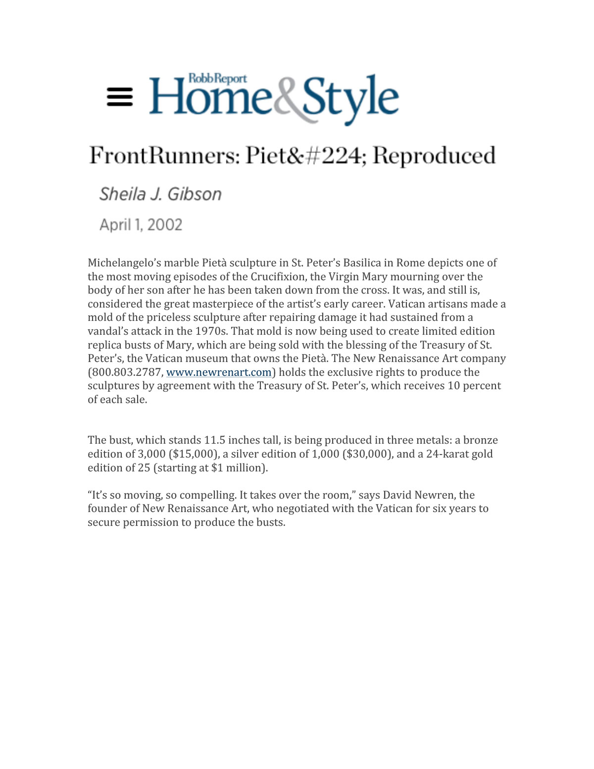 Home & Style Robb Report April 1, 2002
