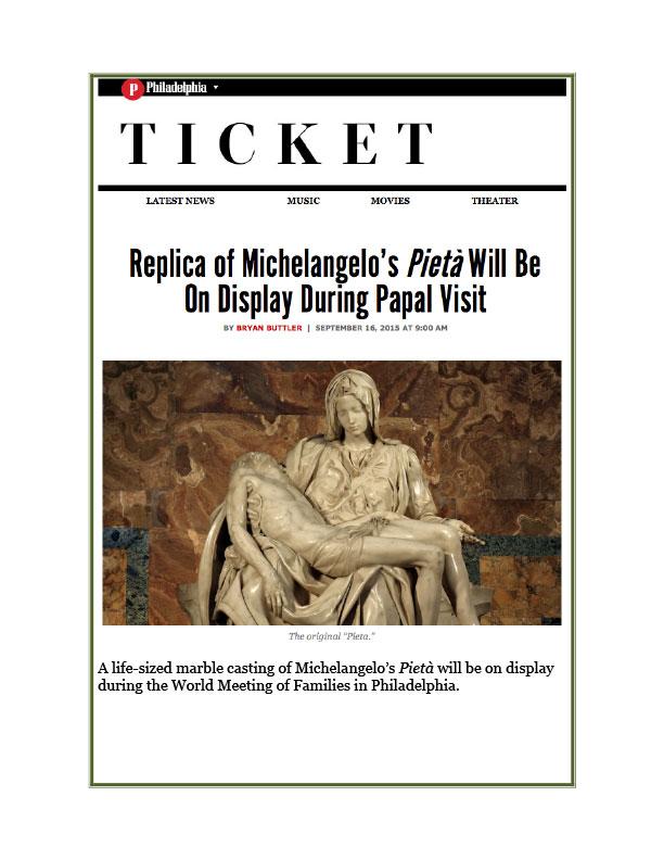 Philadelphia Ticket Papal Visit September 16, 2015