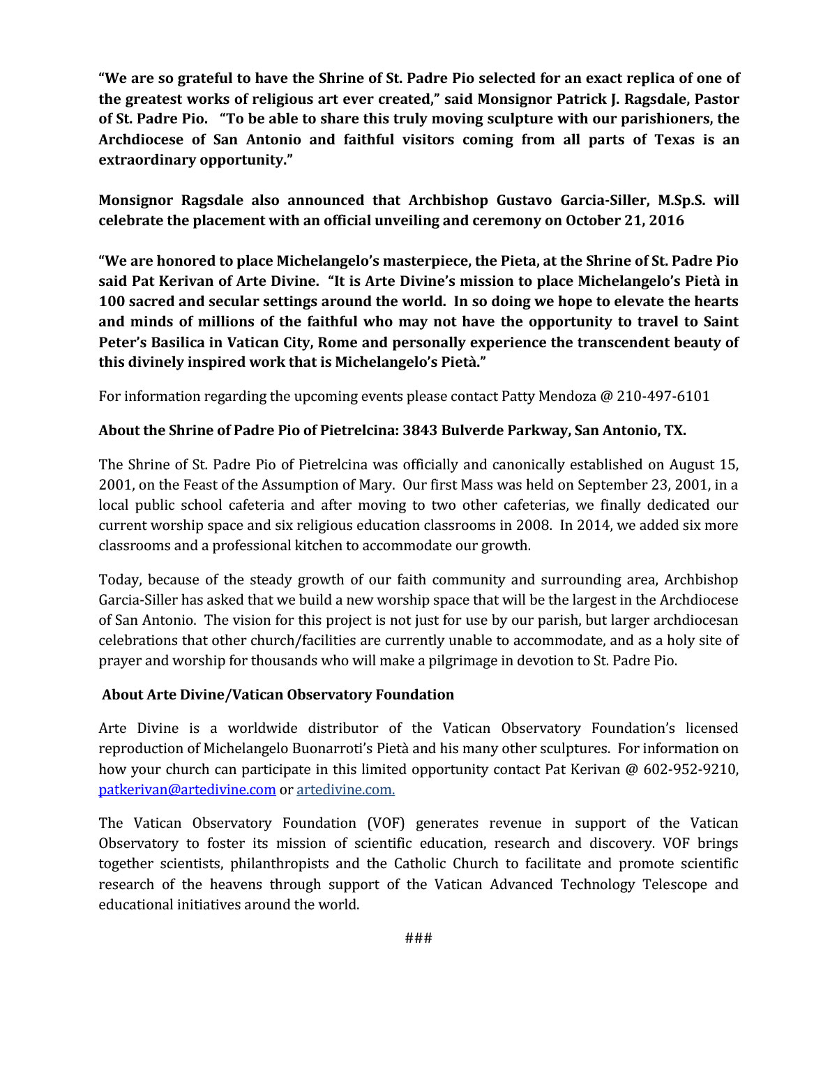 St Padre Pio Press Release-Oct 2016 2