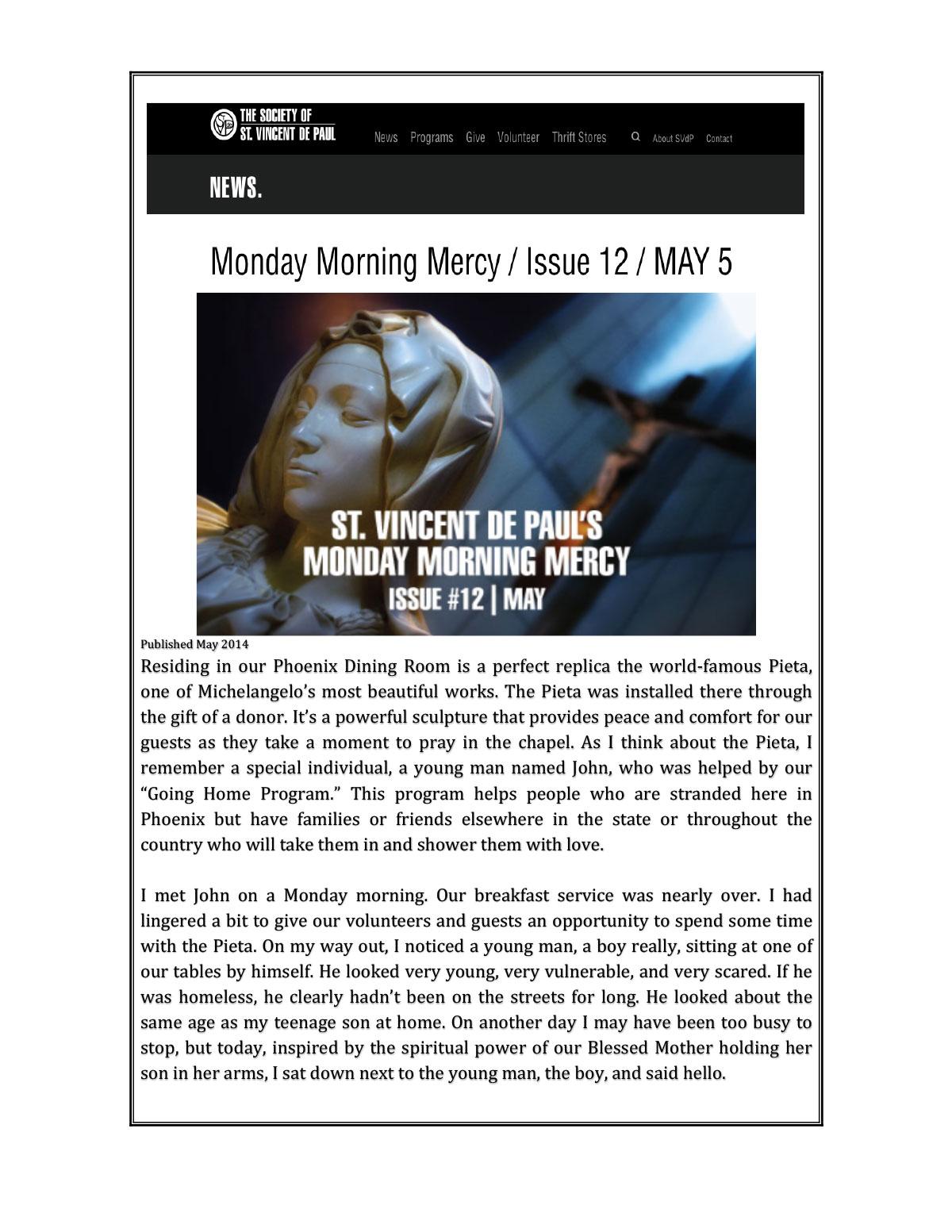 St. Vincent Phoenix, AZ donation May 2014