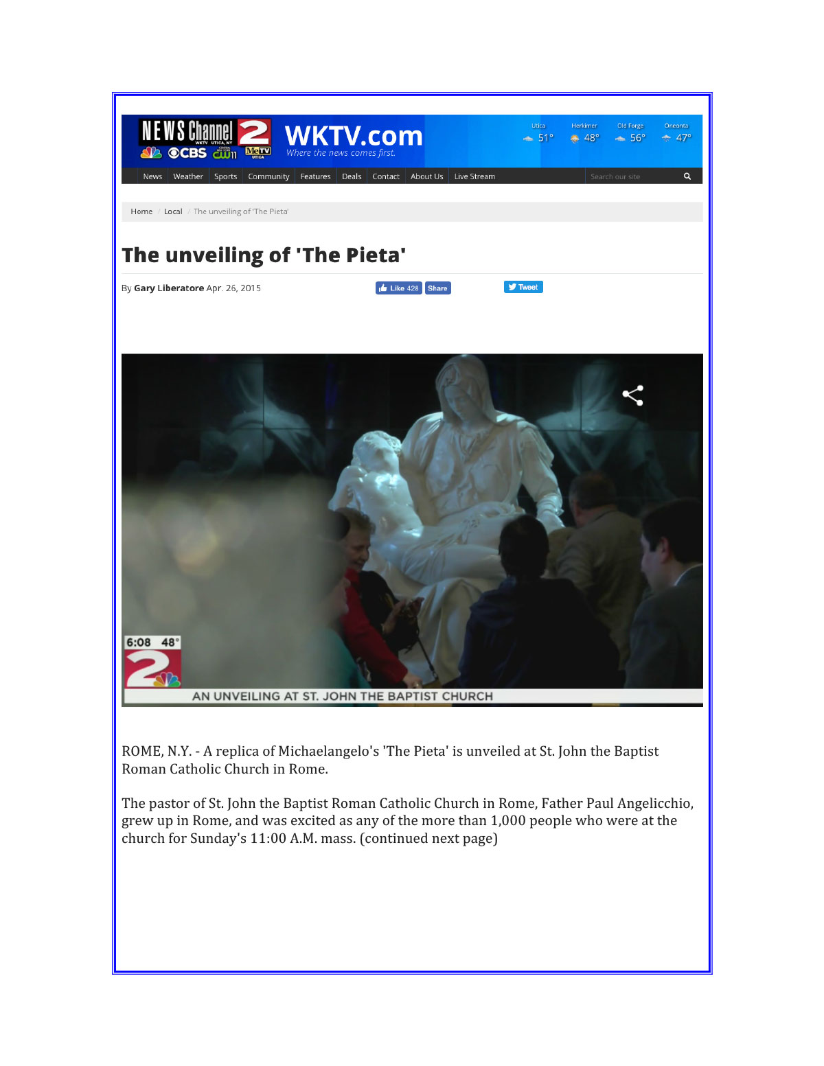 WKTV 2 News Rome, NY April 2015