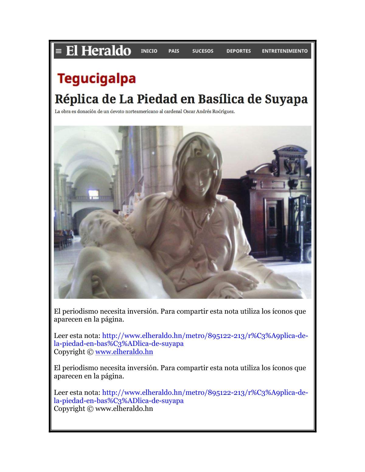 EL Heraldo, Basilica de Suyapa Oct 2015